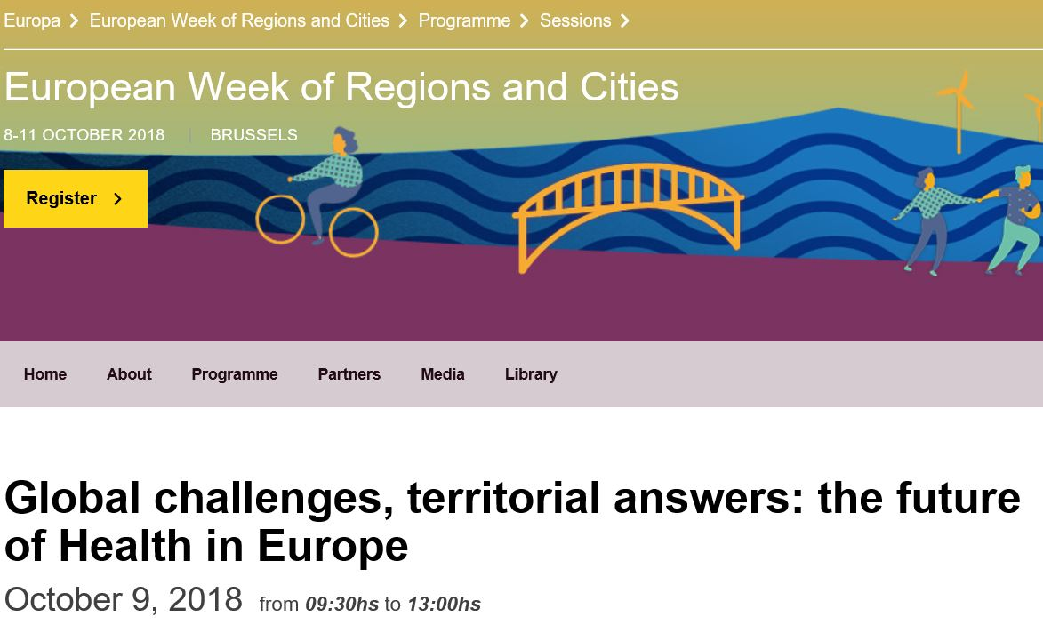 "EUREGHA organizza il 9 ottobre a Bruxelles l'evento ""Global Challenges, Territorial Answers: the Future of Health in Europe"""